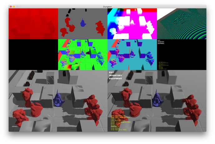 Top row: depth, diffuse, positions, shadow map (packed). Middle row: emissive (unused), world space normals (with bump), view space normals and screen objects. Bottom row: lighting and post-processing
